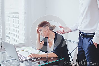 Stress at work, emotional pressure, angry boss and tired unhappy employee