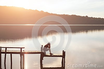 Give up, sad desperate man sitting alone, problems and solitude, failure concept