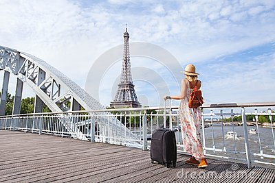 stock image of travel to paris, europe tour, woman with suitcase near eiffel tower