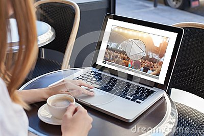 Video streaming, online concert, woman watching live music clip on internet