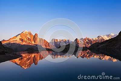 Beautiful nature background, mountain landscape at sunset, panoramic view of Alps