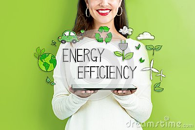 Energy Efficiency with woman holding a tablet