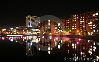 City nightline by the water