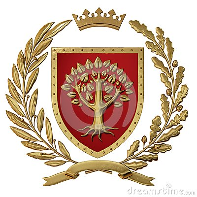 3D illustration Heraldry, red coat of arms. Golden olive branch, oak branch, crown, shield, tree. Isolat.