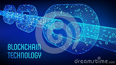 Block chain. Crypto currency. Blockchain concept. 3D wireframe chain with digital code. Editable cryptocurrency template. Stock ve
