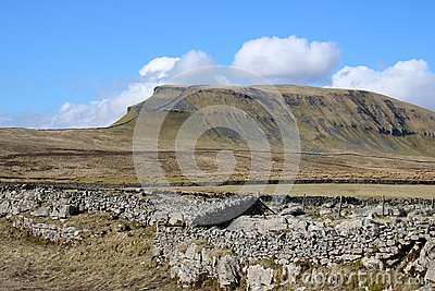 Drystone wall in view Pen-y-ghent North Yorkshire