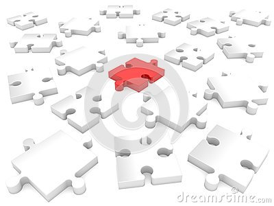 Randomly puzzle pieces in red and white.3d illustration