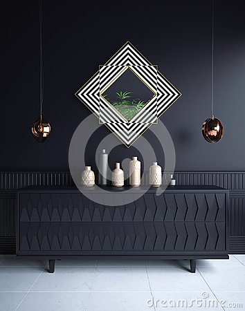 Luxury minimalist dark living room interior with commode,vases, chandeliers and mirror