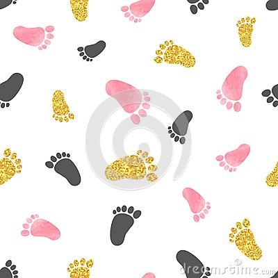 Seamless pattern with pink and golden baby footprints.