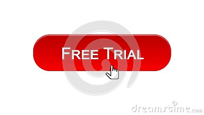 Free trial web interface button clicked with mouse cursor, red color, software