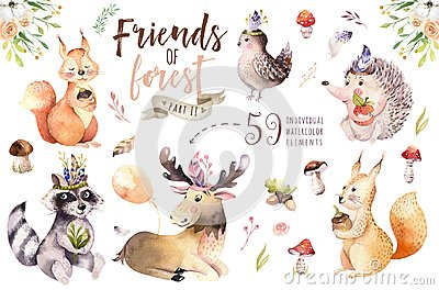 Cute watercolor bohemian baby cartoon hedgehog, squirrel and moose animal for nursary, woodland isolated forest