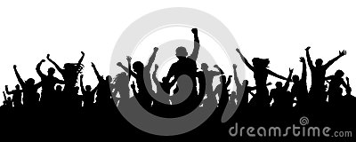 Joyful mob. Crowd cheerful people silhouette. Applause crowd. Happy group friends of young people dancing at musical party, concer