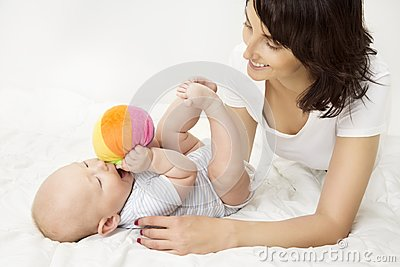 Mother and Baby Playing Toy Ball, New Born Kid Play with Mom