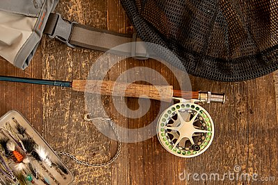 Fly fishing rod and reel with accessories