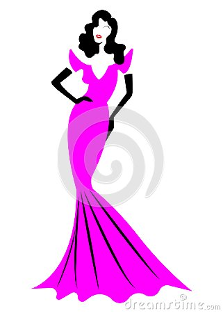 Diva Hollywood silhouette, Beautiful retro fashion woman in pink party dress, luxury pret a porter evening dress, isolated