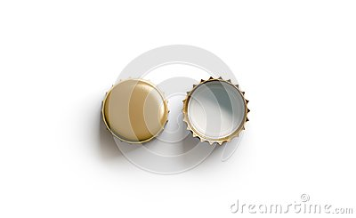 Blank white golden beer lid mockup, top view, front and back side