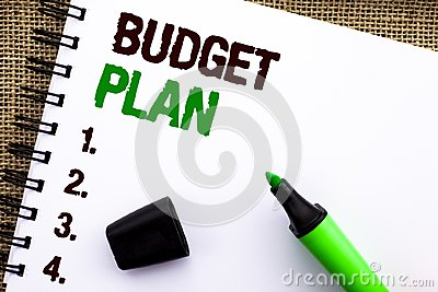 Text sign showing Budget Plan. Conceptual photo Accounting Strategy Budgeting Financial Revenue Economics written on Notebook Book