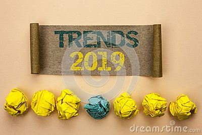 Writing note showing Trends 2019. Business photo showcasing Current Movement Latest Branding New Concept Prediction written on Ca