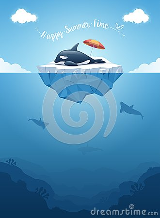 Orca or killer whale sleeping on the iceberg with above and underwater view. Vector illustration.