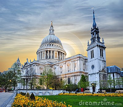 St. Paul`s Cathedral at sunset, London, UK
