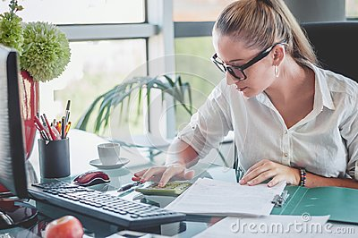 Accountant making a financial report. Finances and economy concept.