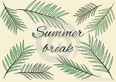 Summer Break background banner with banner with hand drawn tropical palms