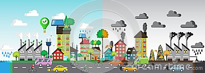 Green and polluted city. For diagram, web design, brochure, template, layout, banner vector