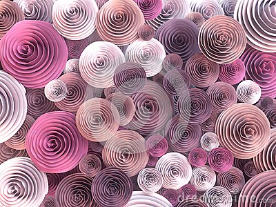 Abstract Illustration of paper-crafted, quilling flowers with different shades of spring colors. 3d rendering