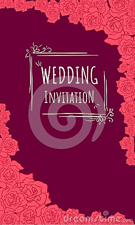 Wedding invitaion in burgundy background and red roses