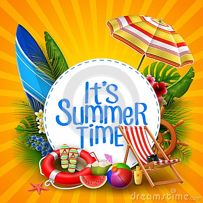 It`s summer time banner design with white circle for text and beach elements
