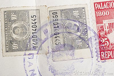 Antique cuban stamps with postmarks. Vintage historic philately.
