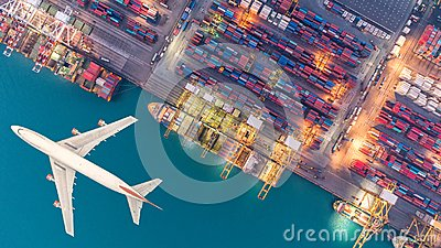 stock image of container ships and transport aircraft in the export and import