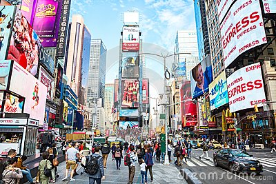 New York City, United States - November 2, 2017: City life in Times Square at daytime
