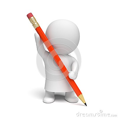 White 3d person wearing a gown holding a big red pencil