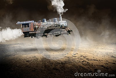 Surreal Vintage Train Locomotive, Flying
