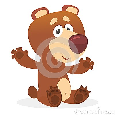 Happy cartoon brown bear. Wild forest animal collection. Baby education. Isolated. White background. Flat design Vector illustrati