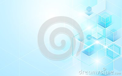 Abstract blue geometric and hexagons shiny. Science or technology concept background Template brochure design.
