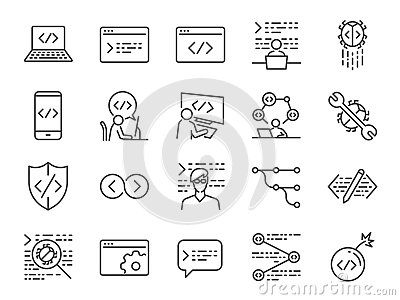Developer icon set. Included the icons as code, programmer coding, mobile app, api, node connect, flow, logic, web coder, bug fix