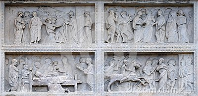 Panel with episodes of the life of St. Geminiano, Modena Cathedral, Italy