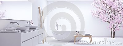 New modern zen bathroom with white wall. 3d rendering