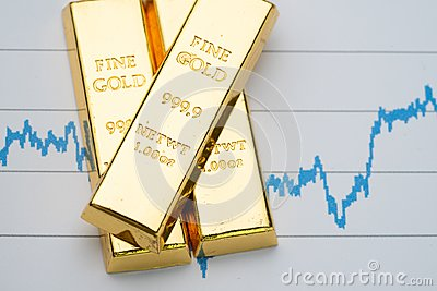 Gold bar, bullion stack on rising price graph as financial crisis or war safe haven, financial asset, investment and wealth