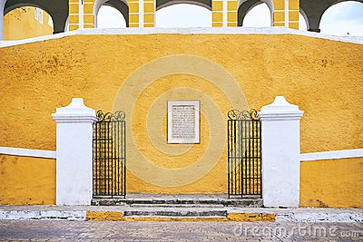 YUCATAN, MEXCIO - MAY 31, 2015: Facade of the church in the yellow city of Izamal, Yucatan, Mexico