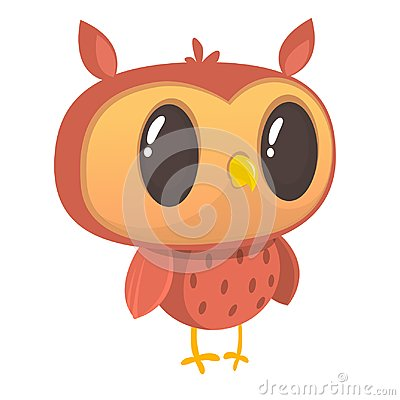 Funny cartoon owl. Wild forest animal collection. Baby education. Isolated. White background. Flat design. Vector illustration.
