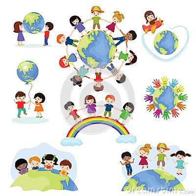 Children world vector happy kids on planet earth in peace and worldwide earthly friendship illustration peaceful