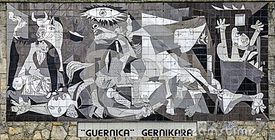 A tiled wall in Gernika reminds of the bombing during the Spanish Civil War. by Pablo Picasso