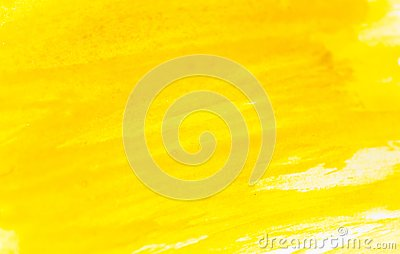 stock image of texture of watercolor paint. horizontal background with yellow watercolour.