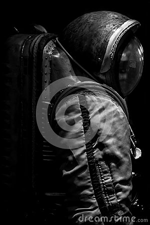 Spaceman suit black and white image