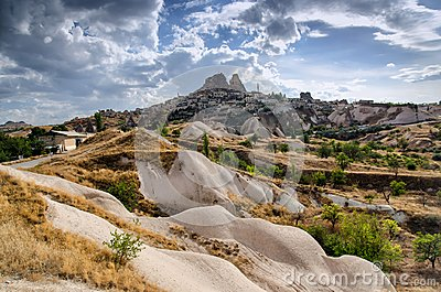 Ancient town and a castle of Uchisar dug from a mountains, Cappadocia, Turkey