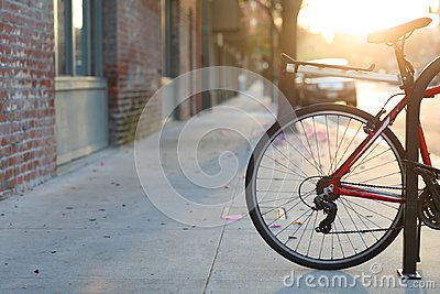 Beautiful romantic sunset city street with a bicycle, European style of life in Pasadena, California.