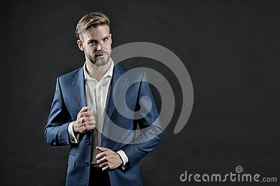 Manager in formal outfit. Man in blue suit jacket and shirt. Businessman with beard and stylish hair. Fashion, style and dress cod